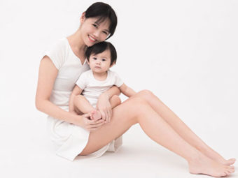 Smiling mom with her healthy kid