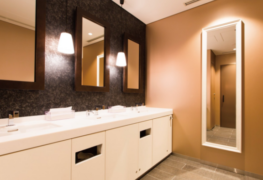 Clean bathroom style with architectural finishes
